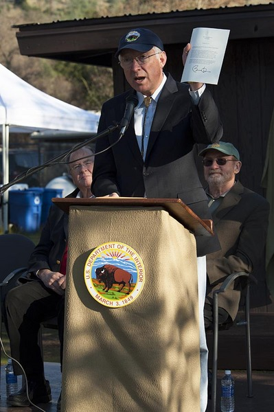 Secretary of the Interior, Ken Salazar, Pinnacles National Park dedication, February 11, 2013