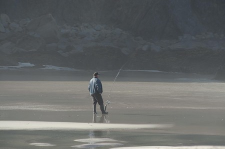 Surf fishing at Pfeiffer Beach