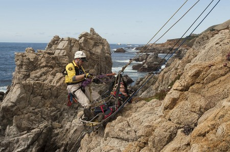 Cliff rescue practice, Monterey County Sheriff Department
